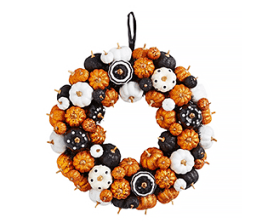 Halloween decor- multicolor mini pumpkins wreath