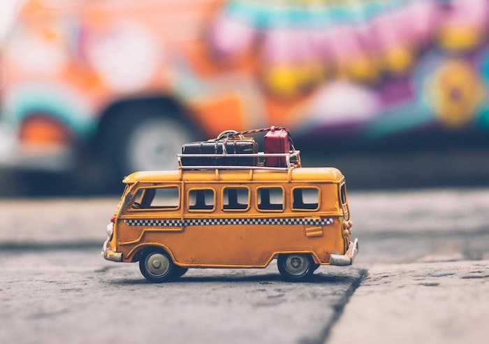 small toy bus taxi