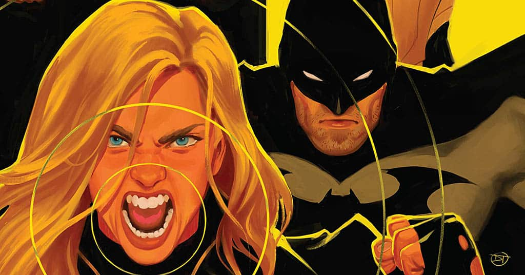 A close of up of Black Canary as she screams with Batman right behind her.