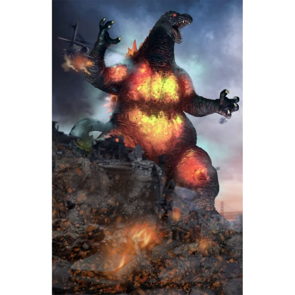 Burning Godzilla on Dark Cloud background left side