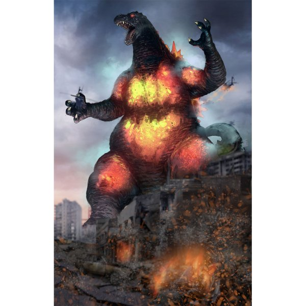 Burning Godzilla on Dark Cloud background right side