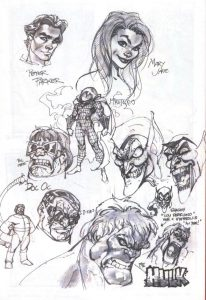 Sketches for the Spider-Man series