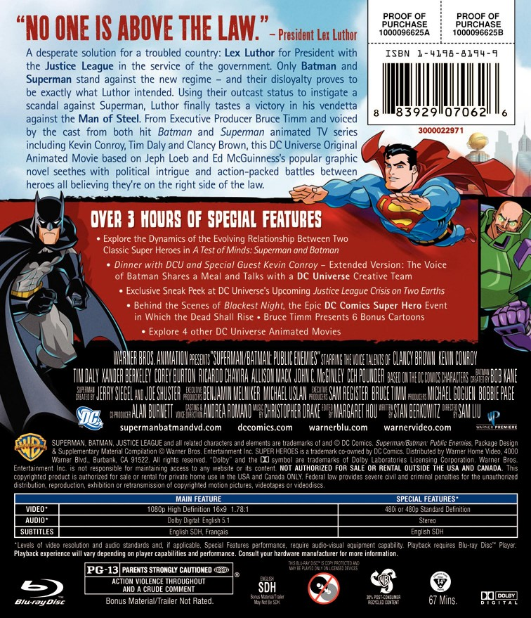 Superman/Batman: Public Enemies Blu-Ray Back Cover