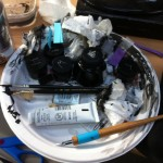 Inks and brushes in Freddie Williams III studio.