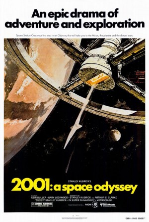One of the theatrical posters, illustrating a similar scene as Kirby's cover, gives an idea of the stark tone Kubrick sets for much of his movie, and stands in stark contrast to Kirby's cover.