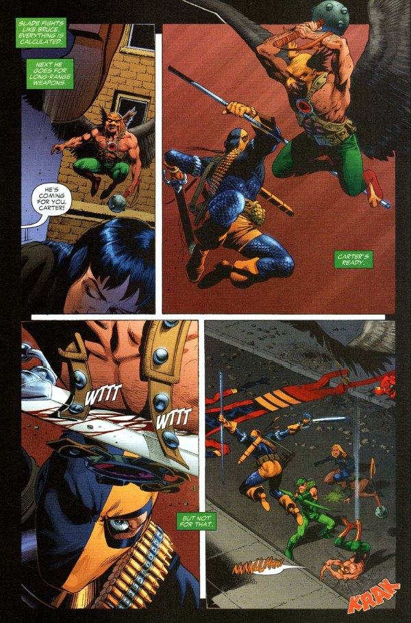 Deathstroke takes down hawkman and the atom