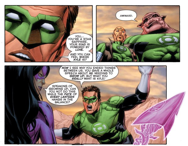 hal jordan finds out that carol ferris loves kyle rayner