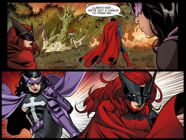 batwoman and huntress takes out superman