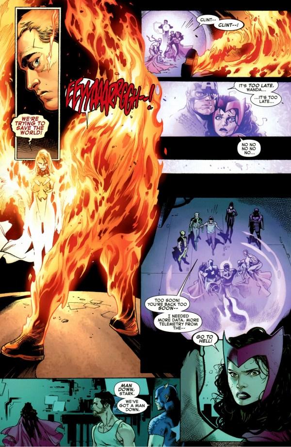 phoenix five emma frost incinerates hawkeye
