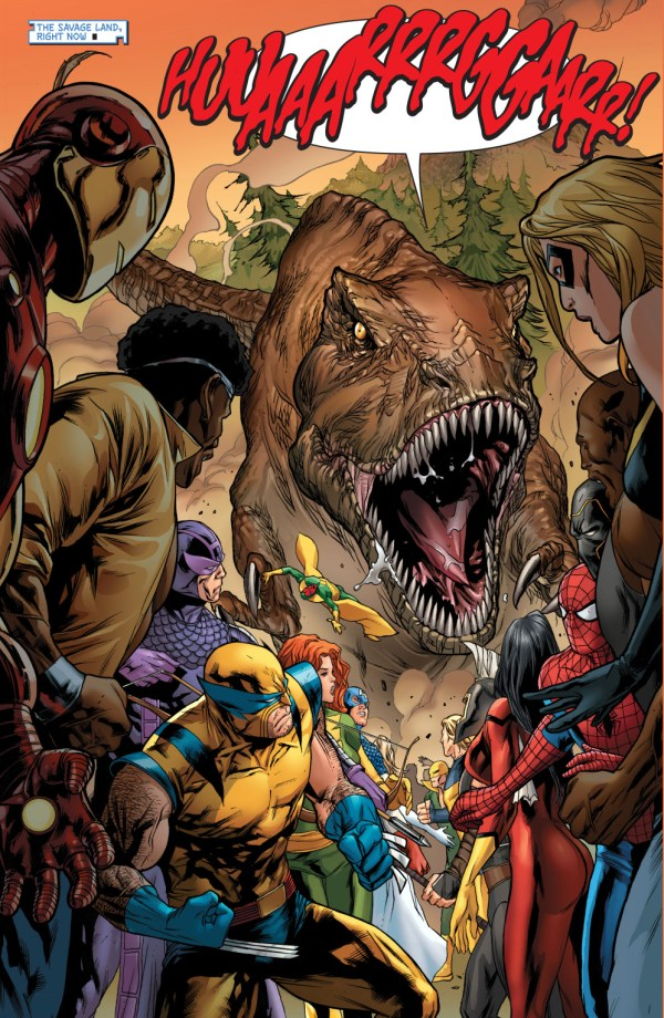 a trex attacks the new avengers