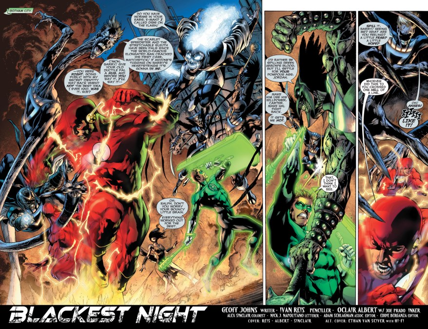 green lantern, the atom and the flash vs black lantern justice league 1