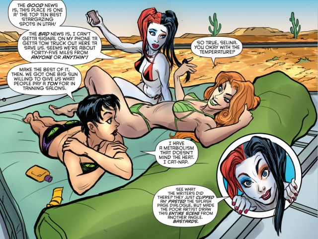 harley quinn, poison ivy and catwoman sun tanning