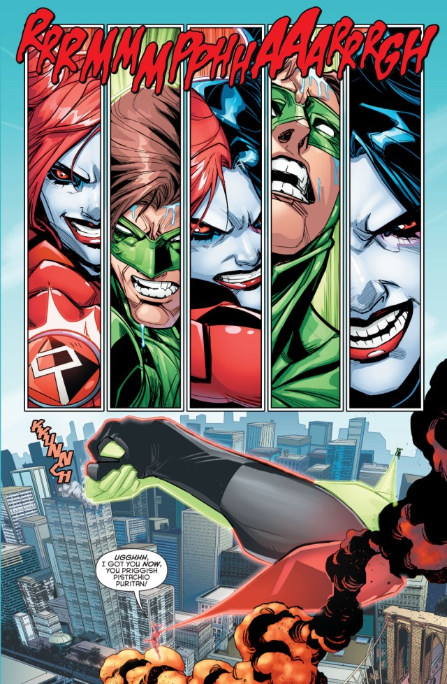 red black lantern harley quinn arm wrestles green lantern