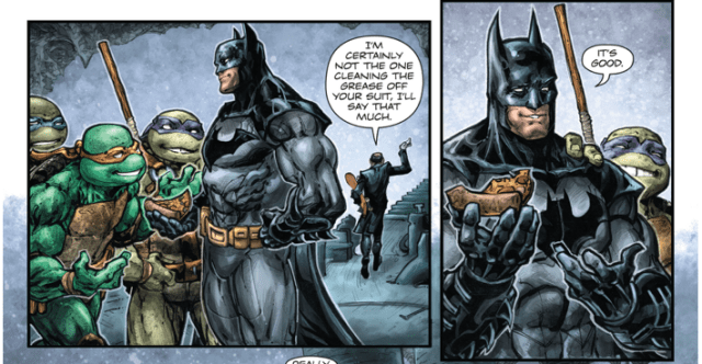 Batman Having Pizza With The Turtles