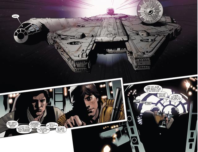 Luke Skywalker Flies The Millennium Falcon