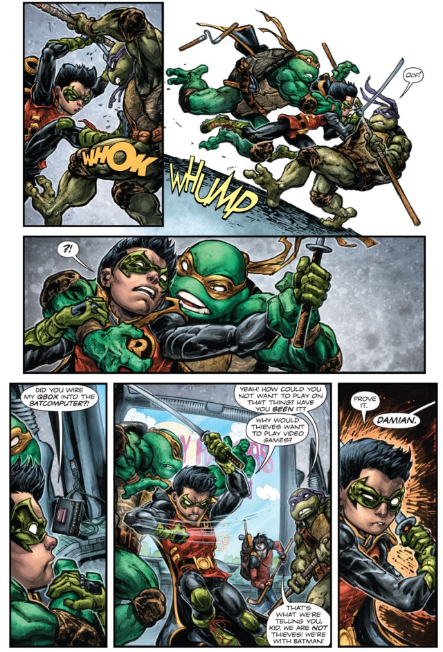 Robin VS Donatello, Michelangelo And Casey Jones