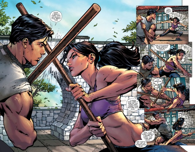 superman and wonder woman sparring