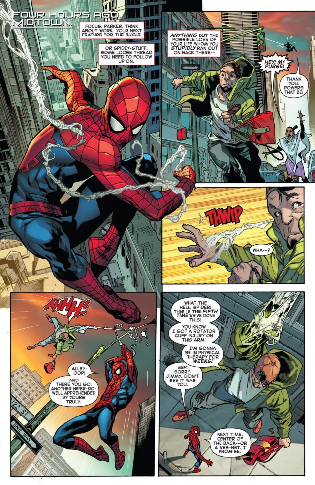 Spider-Man Being Considerate To A Purse Snatcher