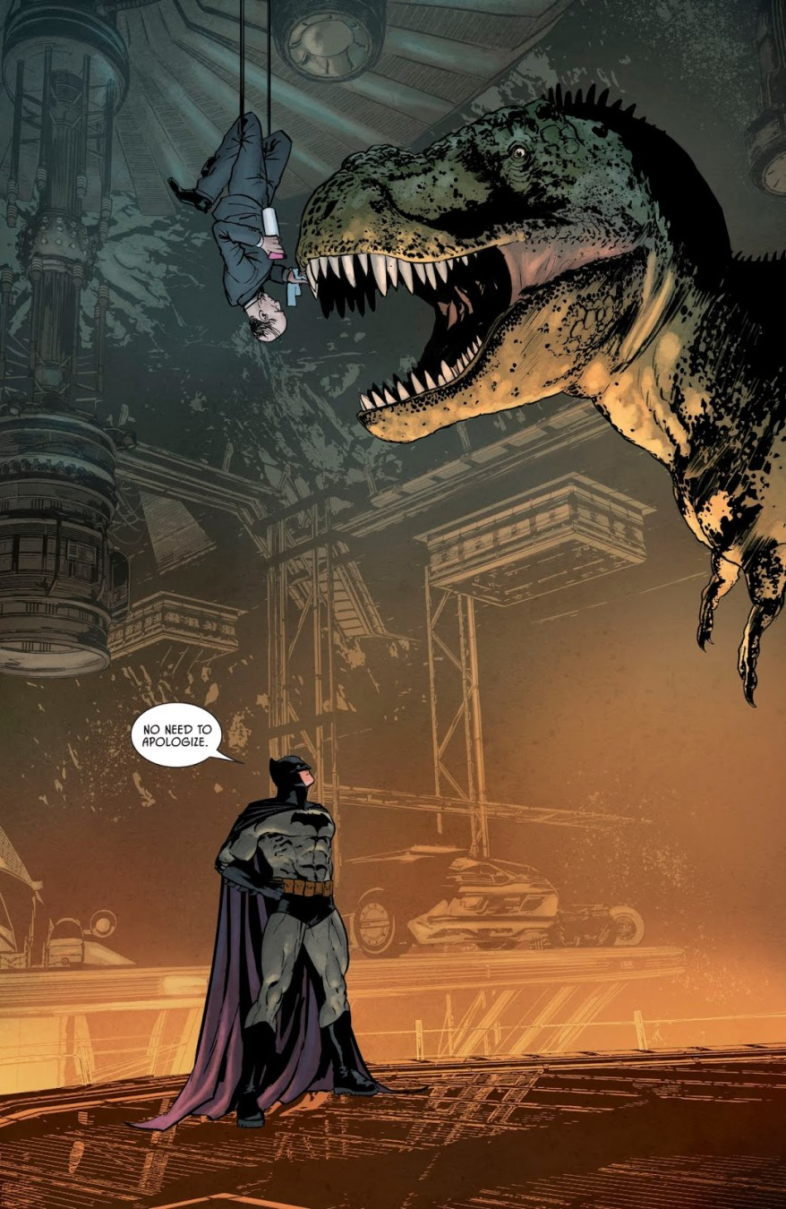 Alfred Pennyworth Cleaning The T-Rex