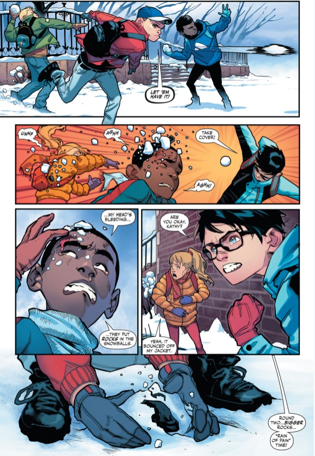 Superboy And Robin In A Snowball Fight Rebirth