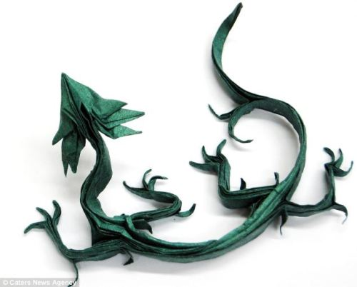 green origami dragon