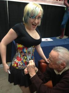 Stan Lee Signs a Marvel Corset