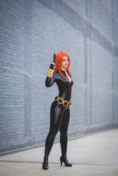 Sexy and sleek Black Widow cosplayer