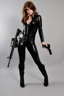 Well armed Black Widow cosplayer