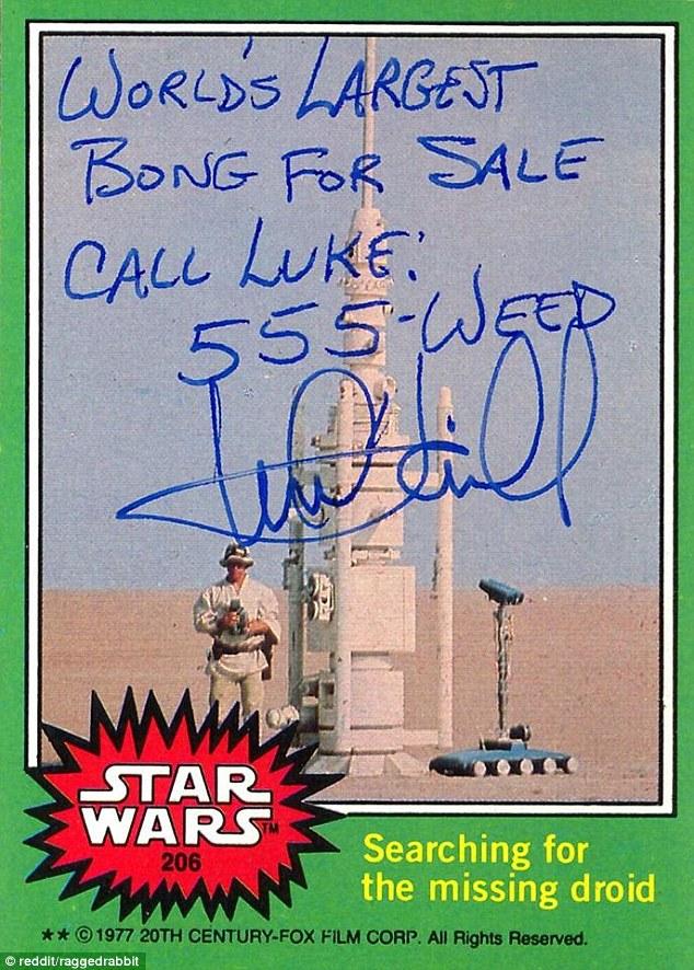 Mark Hamill Star Wars Trading Card Joke 004 Worlds Largest Bong