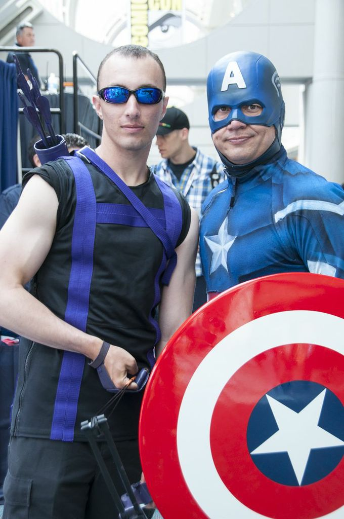 Hawkguy and Cap Cosplayers, SDCC2013, San Diego Comic Con, Hawkeye, Captain America, Marvel