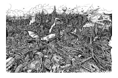 The insane detail from a Ballistic #1 splash page, by Darick Robertson
