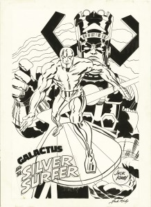 Silver-Surfer-and-Galactus-Marvenmania-poster-by-Jack-Kirby