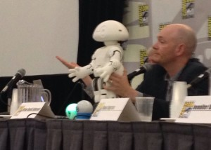 Brian David Johnson introduces Jimmy the Robot to the panel.