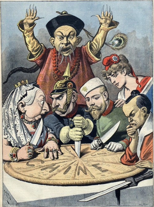 A French political cartoon depicting China as a pie about to be carved up by Queen Victoria (Britain), Kaiser Wilhelm II (Germany), Tsar Nicholas II (Russia), Marianne (France) and a samurai (Japan), while a Chinese mandarin helplessly looks on. (Wikipedia)