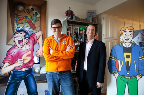 Roberto Aguirre-Sacasa, left, chief creative officer of Archie Comic Publications, and Jon Goldwater, publisher and co-chief executive. Credit Emily Berl for The New York Times