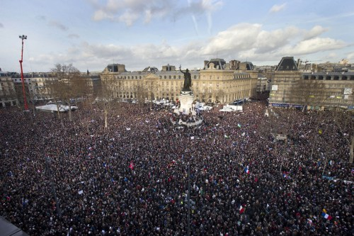 ASSOCIATED PRESS: Thousands of people gather at Republique square.