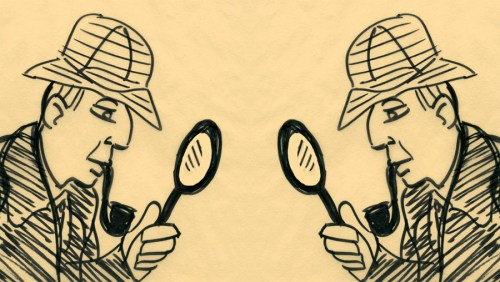 Holmes investigates Holmes. Art by Henry Chamberlain.
