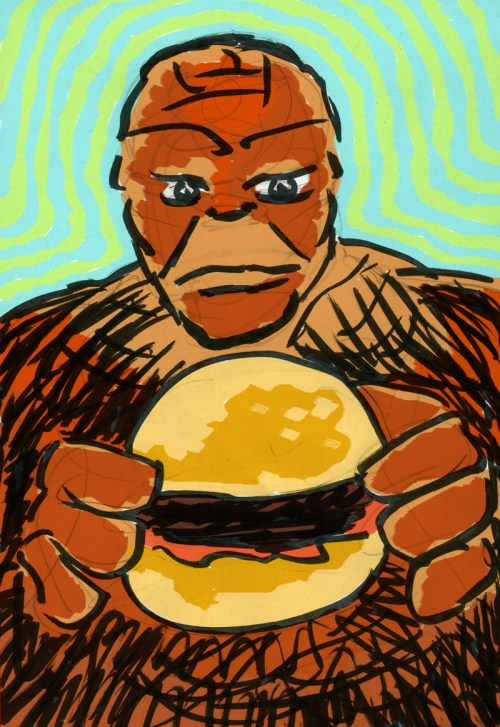My drawing while at Denny's of The Thing about to devour The Thing Burger