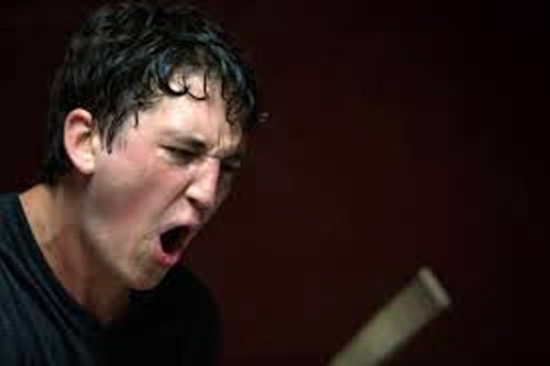 "Miles Teller in happier and crazier times in ""Whiplash"""
