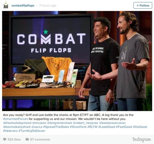 "Former Rangers Donald Lee, left, and Matthew Griffin pitch their company Combat Flip Flops on ""Shark Tank."" (Photo: ABC/Tyler Golden)"