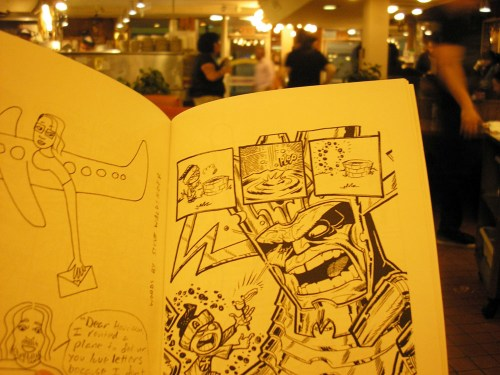 Pages from Lady Beaver & Steve Waldinger (L) and Meesimo (R)