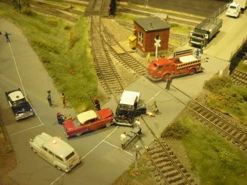 A small drama plays out at the train set.