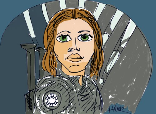 Felicity Jones as Jyn Erso. Illustration by Henry Chamberlain.