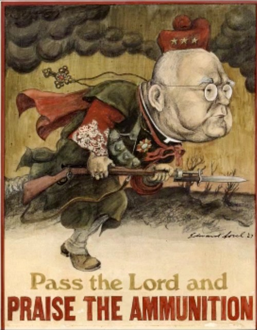 """""""Pass the Lord and Praise the Ammunition,"""" 1967, by Edward Sorel"""