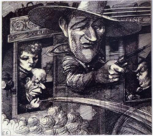 """Stagecoach."" 1980 illustration for Esquire magazine."