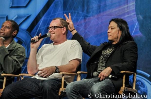 Tim Russ, Robert Duncan McNeill, and Garrett Wang