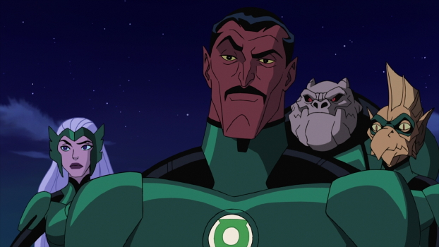 Sinestro and fellow Lanterns Boodikka, Kilowog, and Tomar-Re
