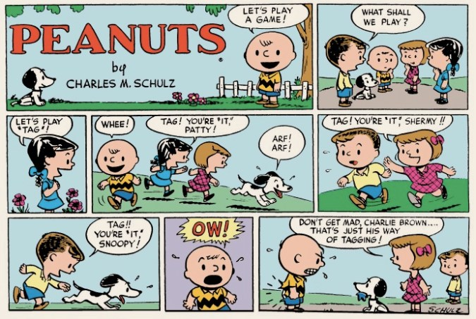 Peanuts first Sunday strip, January 6, 1952