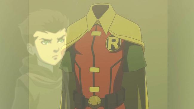 Son of Batman promo image - Damian and Robin costume