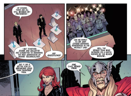 Black Widow and Thor in Gillette Avengers comic